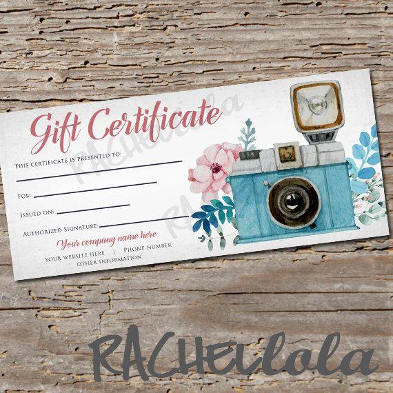 custom  floral camera  printable gift certificate template