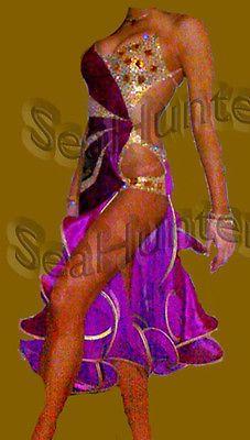 Ballroom Ramba Latin Cha Cha Samba Dance Dress US 8 UK 10 Two Purple Gold Color