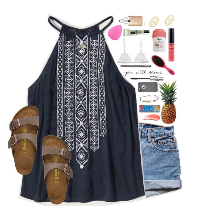 """""""*she has fire in her soul and grace in her heart*"""" by lydia-hh ❤ liked on Polyvore featuring Levi's, Abercrombie & Fitch, Birkenstock, Kendra Scott, FRUIT, Christian Dior, NYX, Clinique, Zodaca and Curriculum Vitae"""