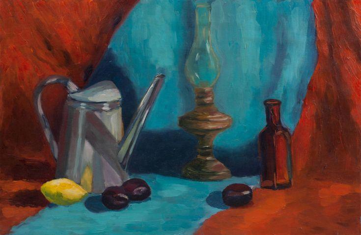 Lamp Still Life Art Print, Original Art Print, Still Life, Print, Painting for…
