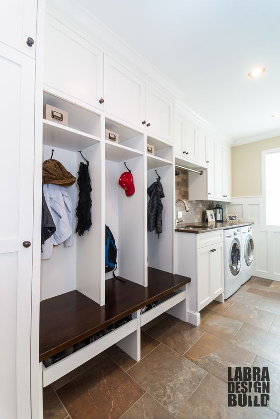 love hooks for coats/hats, and pull out shelves for shoes as well as overhead storage for socks.