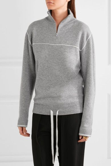 Gray and white cashmere Zip fastening along front 100% cashmere Dry clean