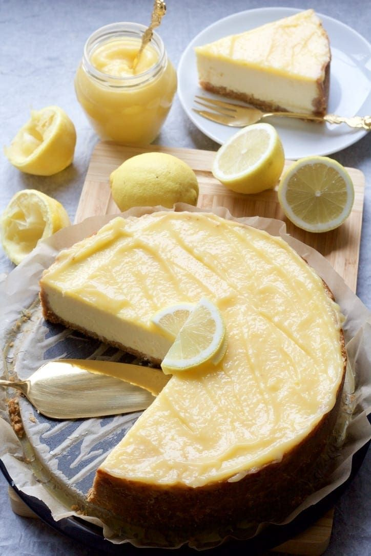 Baked Lemon Cheesecake Recipe In 2020 Citrus Desserts Lemon Curd Cheesecake No Bake Lemon Cheesecake