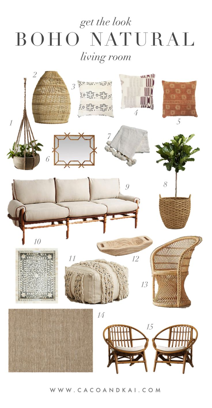 Boho neutral living room moodboard | get the look in 2019 ...