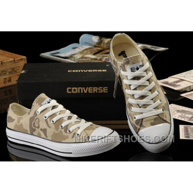 Summer CONVERSE Nicolas Cage Soul Camouflage Yellow Ochre All Star Chucks Tops Canvas Sneakers Online WcszY