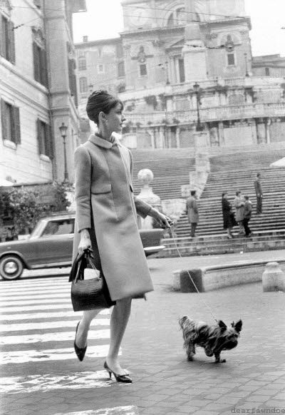 Audrey Hepburn with her dog  Mr. Famous in front of the Spanish Steps in Rome.
