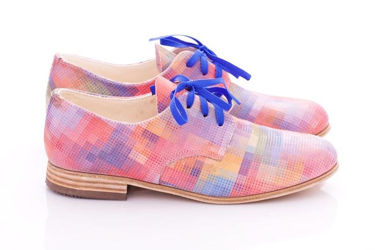 Ah! Pastel Pixel - Leather Oxford Shoes