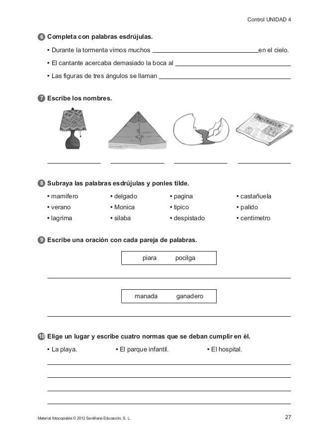 156104174 Evaluacion Continua Controles 4 Primaria Santillana Libro De Lenguaje Evaluacion Forma Palabras