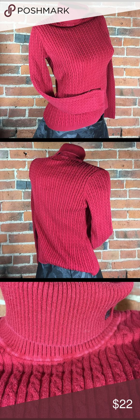 """Ralph Lauren Turtleneck Sweater Red Cable Knit Ralph Lauren women's turtleneck sweater Red cable knit Embroidered logo on collar 89% cotton / 9% nylon / 2% lycra Excellent gently used condition -- minor wear on neck seam, see photos Chest 32"""" (stretches) Length 22"""" Sleeves 22"""" Ralph Lauren Sweaters Cowl & Turtlenecks"""