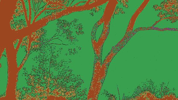 Red and Green Eucalypt Outline by BlackbirdArtDesign on Etsy, $35.00