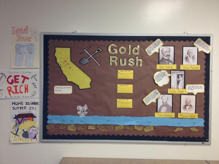 This bulletin board about the Gold Rush is simple, yet still fills pace in the classroom. There is a timeline as well as quotes from different influential people of the time. #goldrush #california #earlyamerica