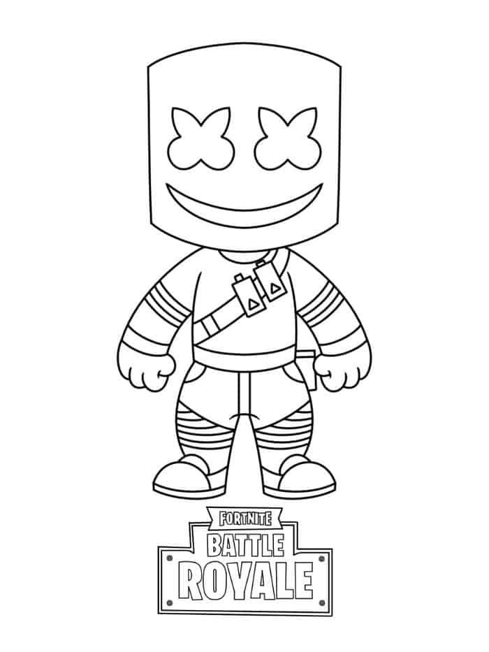 Marshmello Fortnite Coloring Pages From Fortnite Coloring Pages