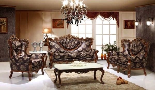 furniture stunning victorian living room set using antique italian sofa covered by damask upholstery fabric alongside carved wooden coffee table with marble top tables under crystal chandelier lamp