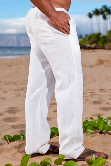 Island Importer - White Linen Riviera Pant - The one you've been looking for: Our first ever men's linen pant.  These casual, loose-fitting pants are ideal for your groomsmen and great paired with any of our men's linen shirts.  Features a drawstring waist, side and back slit pockets, and stitching detail on cuffs.  Relaxed fit; perfect for your laid-back beach or destination wedding!