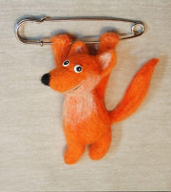 OOAK Felted fox brooch. Needle felted от SkojSkojDesignStudio