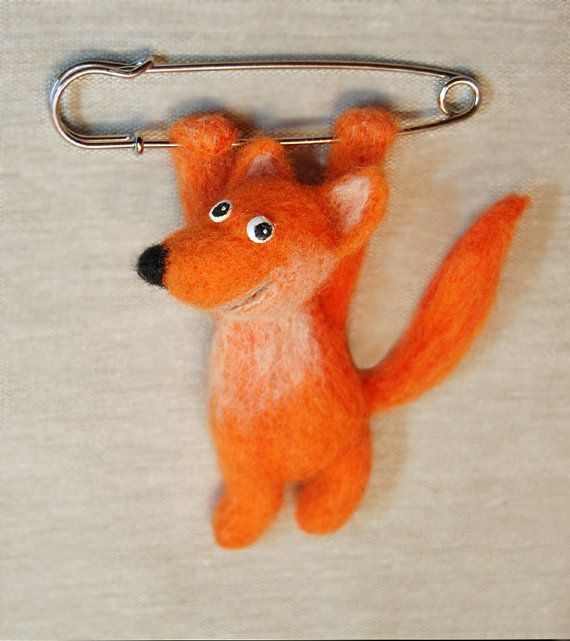 OOAK Felted fox brooch. Needle felted от SkojSkojDesignStudio
