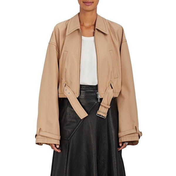 3.1 Phillip Lim Women's Belted Tech-Twill Utility Bomber Jacket ($595) ❤ liked on Polyvore featuring outerwear, jackets, camel, bomber jackets, utility jacket, belted jacket, camel jacket and twill jacket
