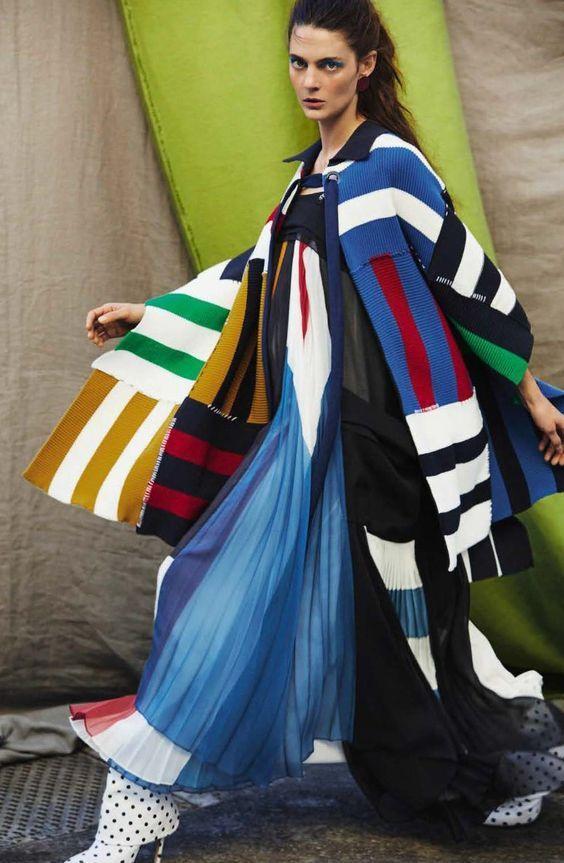 knitGrandeur: Patched Stripes- Chloe Cardigan, Vogue Spain March 2017