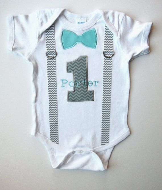 First Birthday Suspenders Outfit Personalized  Bow Tie 1 For 1st Birthday Boy Chevron Gray Light Aqua Or Choose Your Color