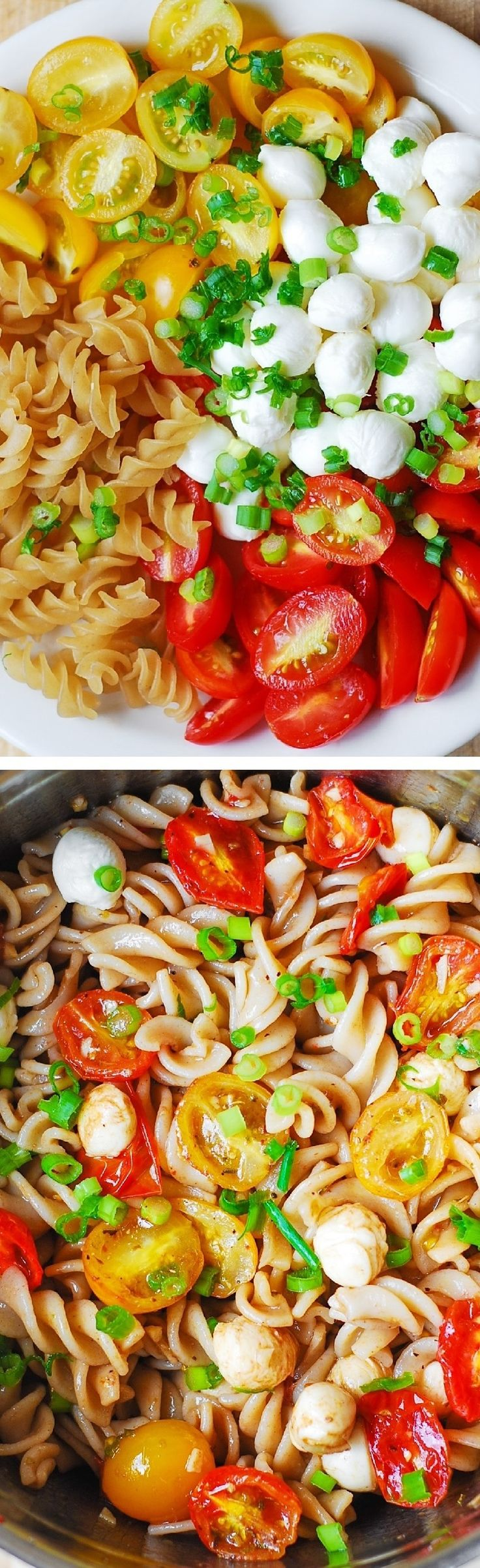 Pasta Salad with Roasted Tomatoes and Mozzarella - healthy, light, vegetarian side dish! Perfect for Summer cookouts, picnics! | @andwhatelse