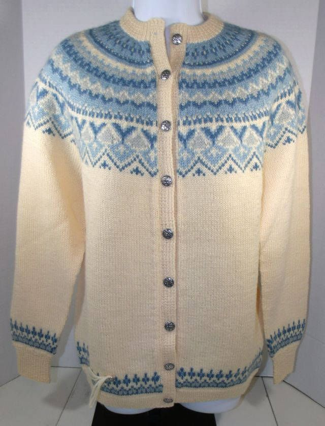 NWOT Vtg Nordstrikk Handknit Womens Cream Blue Norway Wool Cardigan Medium #nordstrikk #Cardigan