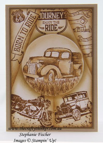 Masculine Card, Retiform Technique, #inkitstampit, Country Livin', Guy Greetings, #thecraftythinker, Stampin Up