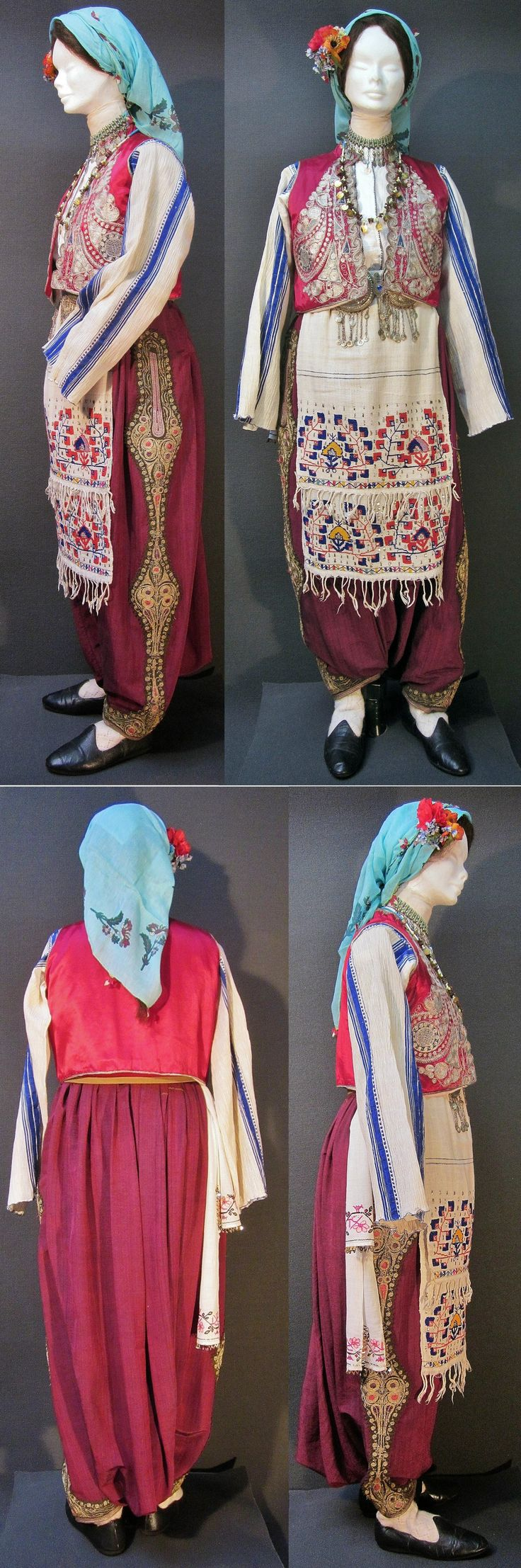 Traditional festive costume from Trakya/Thrace.  Mostly worn by Muslim immigrants from the Balkans (i.a. from northeastern Bulgaria).  The large 'şalvar' (baggy pants) and the 'yelek' (sleeveless vest/bodice) are embroidered in the so-called 'Rumeli' style, 1925-1950.  (Kavak Costume Collection - Antwerpen/Belgium).