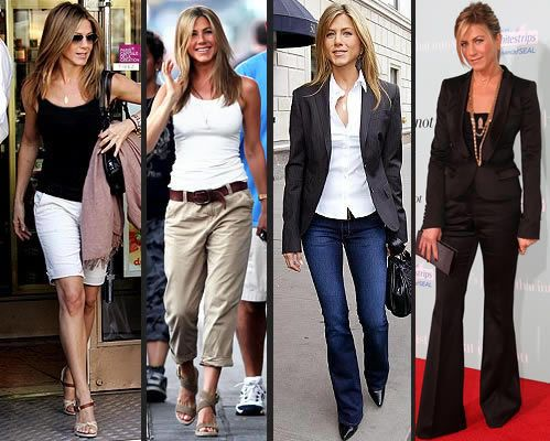 Jennifer Anniston Style- Rare to ever see her in anything except black, grey, white, kaki, olive, or jeans.