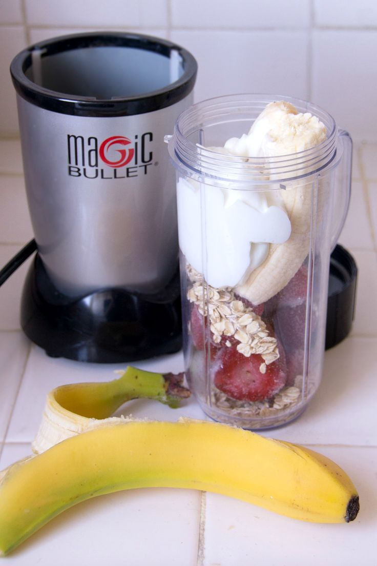Strawberry Oatmeal Smoothie: 1 cup frozen strawberries, 1 banana, 1/4 cup oats, 1/2 cup plain non-fat yogurt, 1/4 cup water, 1 tsp honey