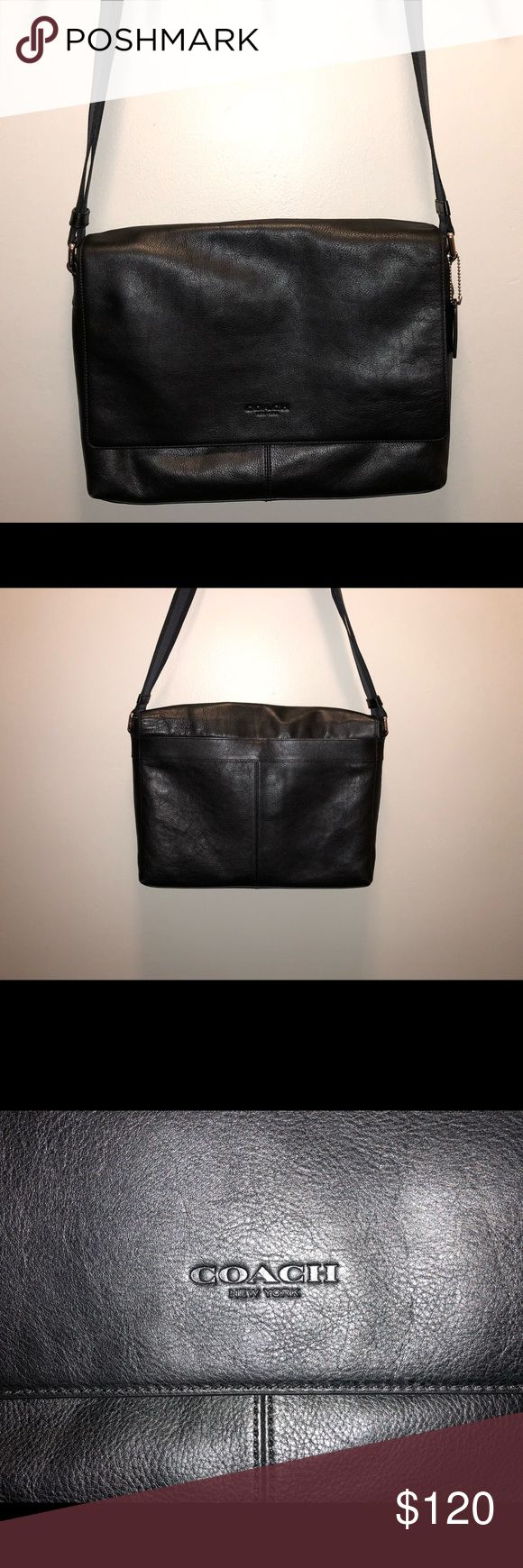 Coach leather messenger bag Very lightly used, in great condition. Black leather with adjustable nylon strap and magnetic closure flap front. Zippered pockets inside and magnetic closure pocket on the back. Coach Bags Laptop Bags