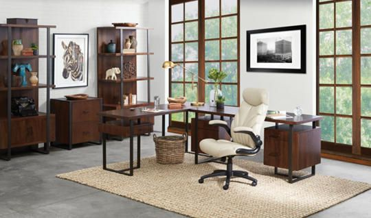 """The Terra Vista 2-Piece Desk Set includes one 66"""" double pedestal desk and one 71"""" return desk to create a """"L"""" configuration. It features walnut veneers, straight lined metal legs, felt-lined drawers, and two file cabinet drawers."""