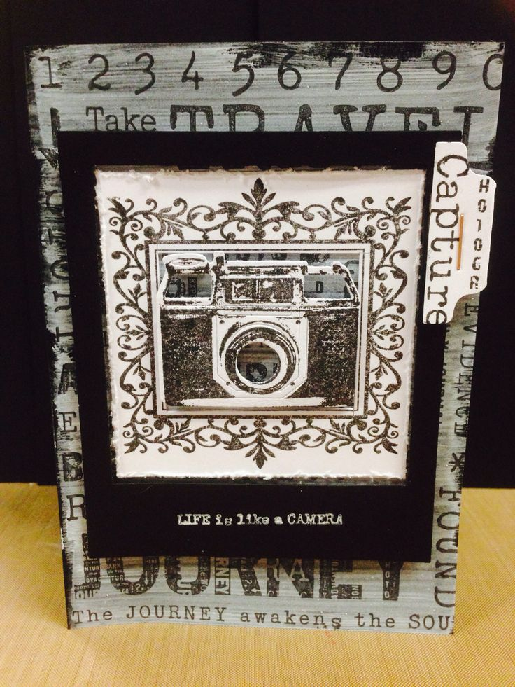 Stamping on gesso used the cool camera stamp and snap shot die!