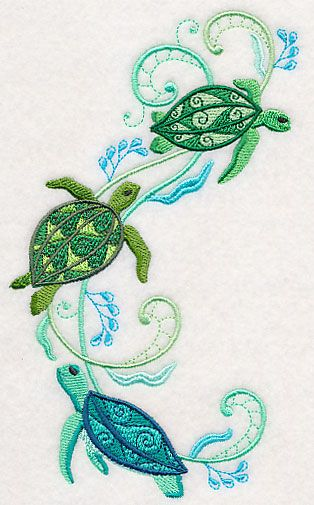 Turtles and Seagreens Spray design (M4603) from www.Emblibrary.com