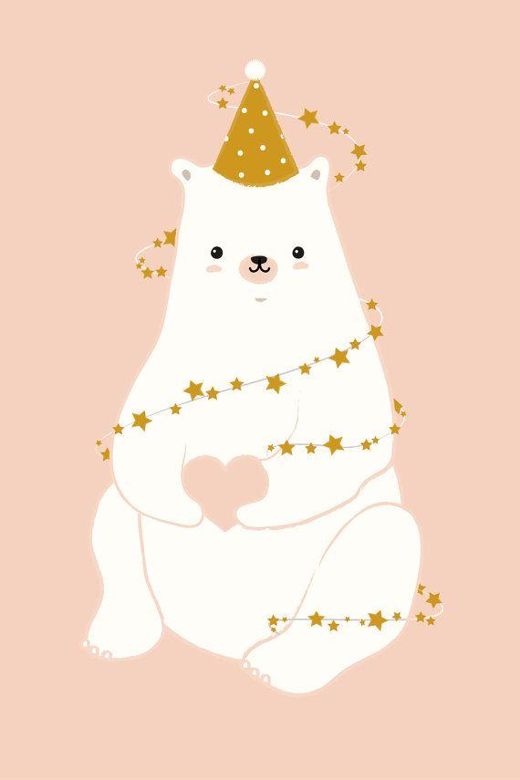 Carte et affiche ours festif par Hortieshop sur Etsy