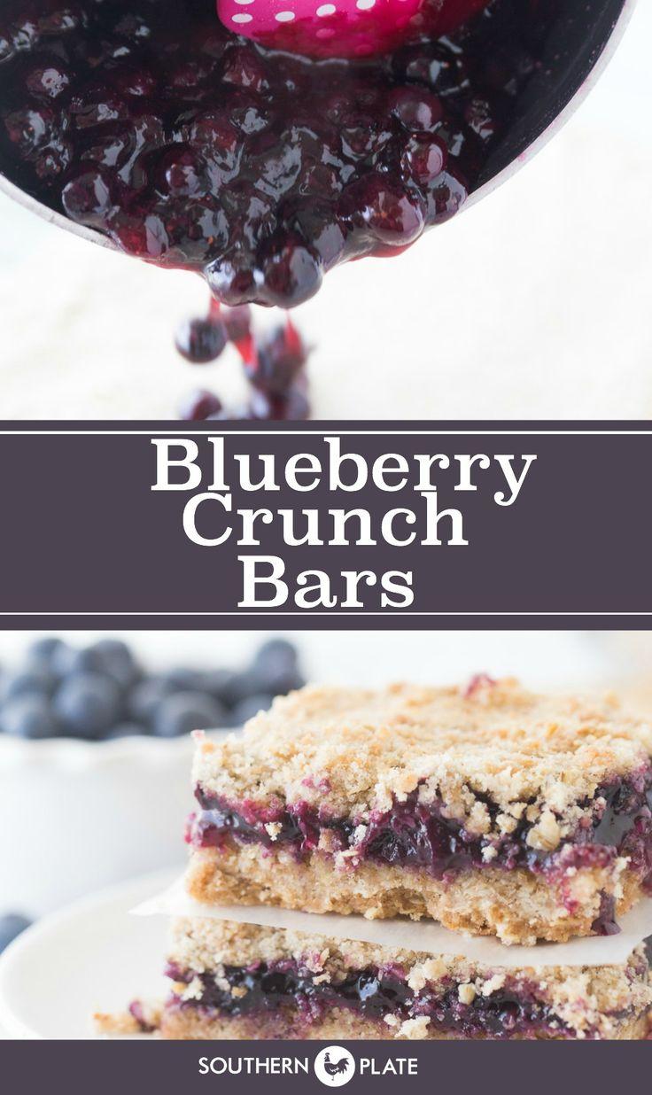 Blueberry Crunch Bars #SummerDessertWeek ~ http://www.southernplate.com