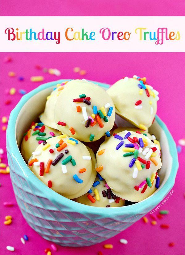 Birthday Cake Oreo Truffles - crushed Golden Birthday Cake Oreo Cookies, cream cheese, birthday cake chocolate, and sprinkles; your delish birthday treat!