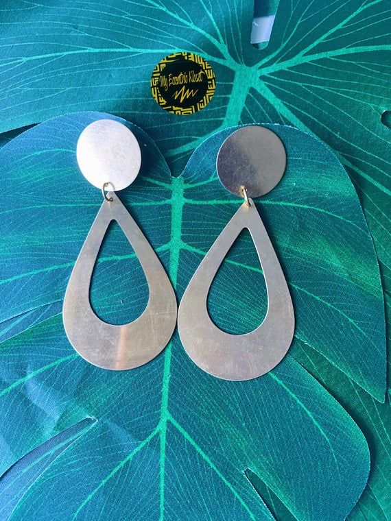Christmas gift for lover geometric shapes Large earrings in satin brass modern accessories for girls Minimal women/'s jewelry