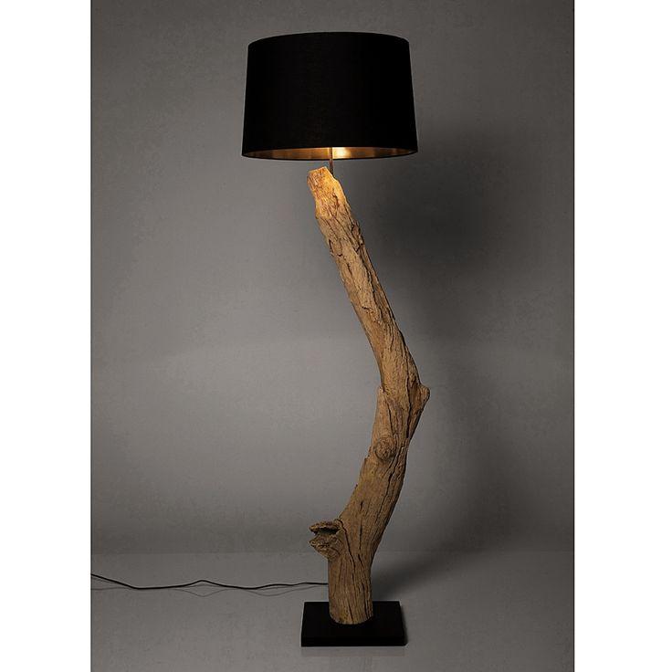 Lampadaire Nature Straight - Coton noir / Bois flottant