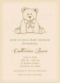 Teddy Bear baby shower invitation do-it-yourself by Rachellola