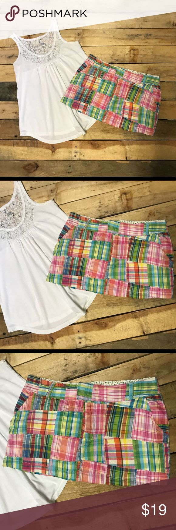Juniors Top Shirt & Mini Skirt Size XS Juniors white Aeropostale tank top size XS. Has lace at the top. Shirt length 22 inches. Across at the arm pits (laying flat) 15 1/2 inches. Raviya patch work cotton mini skirt size XS. Across at the waist 14 1/2 inches. Length 10 1/2 inches. Both pieces are in excellent used condition. Other