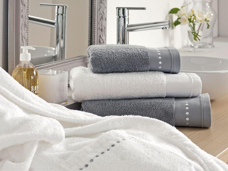 Linge de toilette DELICES ALIGNES BAIN 100% coton. - Blanc & Gris -  http://www.blanc-cerise.com