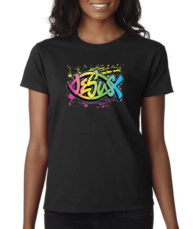 Jesus Fish Neon Colorful Peace Pray Love Religion Ladies Tee Shirt