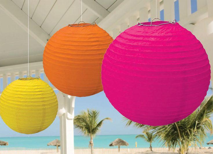 3 LAMPIONS HAWAII Laternen Karibik Geburtstag Dekoration Mottoparty