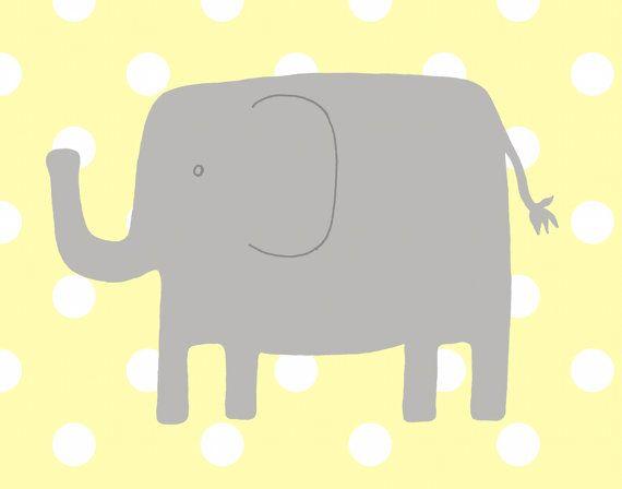 Elephant Nursery Art -- Polka Dot Elephant Art Print -- Yellow and Gray Nursery Decor -- Playful Elephant --Children Art, Kids Wall Art