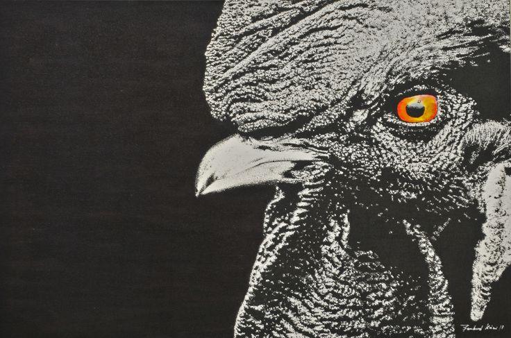 no name / acryl, tusche, leinwand 80x120                                                                         bernhard kaeser 2015 Acryl auf Leinwand , Kunst, malerei, Leinwand, painting, Hahn, Animal