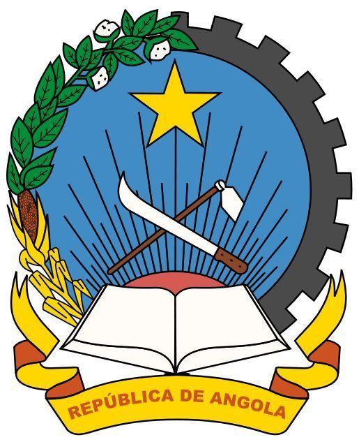 Coat of arms of Angola - O brasão de armas de Angola reflete o passado recente do país. Existem vários símbolos Marxistas no brasão de armas, que são baseados nos elementos gráficos do brasão da antiga União Soviética) e também presente na bandeira nacional.