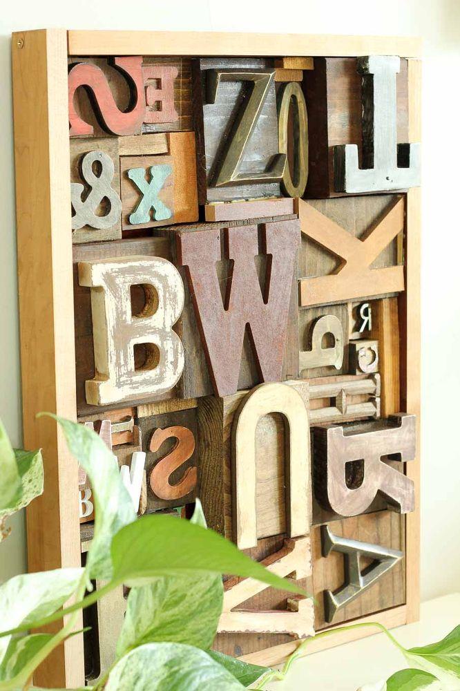 Faux Letterpress Printing Block DIY Art