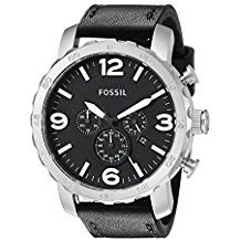 Fossil Men's Quartz Watch Nate JR1436 with Leather Strap