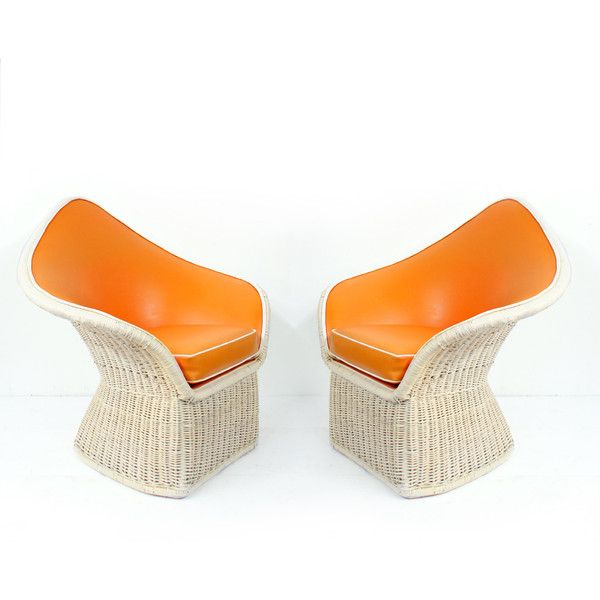 Pair of 1970s Arthur Elrod Orange Spade Large Lounge Chairs by McGuire... ❤ liked on Polyvore featuring home, outdoors, patio furniture, outdoor chairs, oversized outdoor chairs, oversized patio chairs, orange outdoor furniture, oversized patio furniture and orange patio furniture