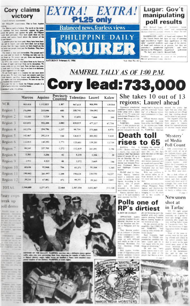 Feb 8, 1986: Extra! Extra! Cory Aquino leads! #INqBack #EDSA28 #history